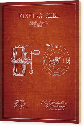 Fishing Reel Patent From 1874 Wood Print by Aged Pixel