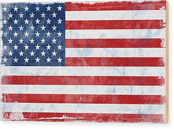 Flag Of Usa Wood Print by Modern Art Prints