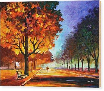 Flaming Night Wood Print by Leonid Afremov