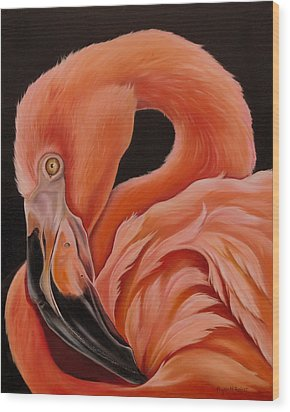 Flamingo Portrait Wood Print by Phyllis Beiser