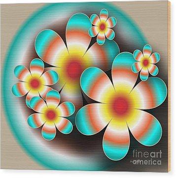 Floral Target Wood Print by Iris Gelbart