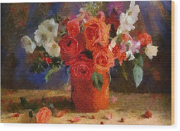 Wood Print featuring the painting Flowers by Georgi Dimitrov