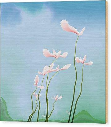 Flowers Of Peace Wood Print by GuoJun Pan