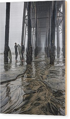 Fog At The Pier Wood Print