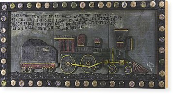Wood Print featuring the painting Folsom Prison Train by Eric Cunningham
