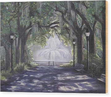 Forsythe Park Wood Print by Roberta Rotunda
