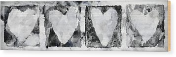 Four Hearts Wood Print by Carol Leigh