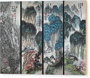 Four Seasons In Harmony Wood Print