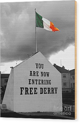 Free Derry Wall Wood Print by Nina Ficur Feenan