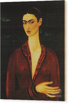Frida Kahlo Self Portrait Wood Print by Pg Reproductions
