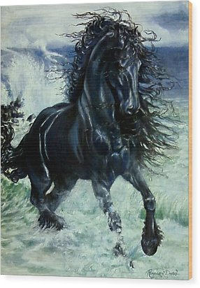 Friesian Storm Wood Print