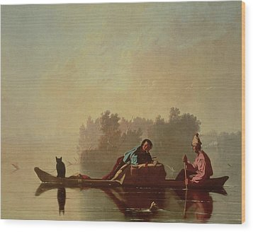 Fur Traders Descending The Missouri Wood Print by George Caleb Bingham