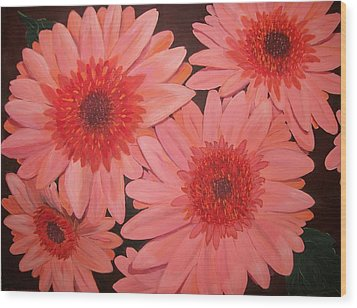 Wood Print featuring the painting Gerber Daisies by Sharon Duguay