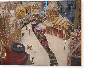 Gingerbread House Miniature Train Wood Print