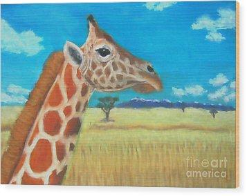 Giraffe Dreaming Wood Print