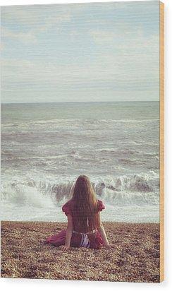 Girl On Beach Wood Print by Joana Kruse