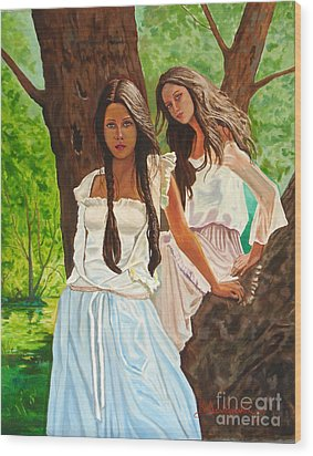 Girls In The Woods Wood Print by Kostas Dendrinos