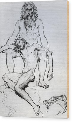 God The Father And God The Son Wood Print by Henri Lehmann
