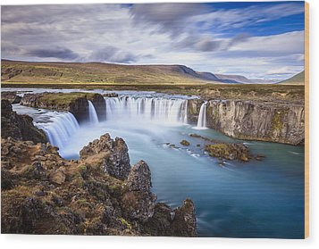 Godafoss Waterfall Wood Print
