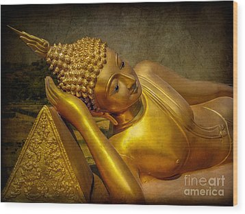 Golden Buddha Wood Print by Adrian Evans