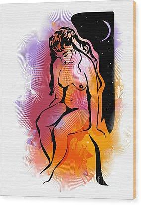 Golden Night Wood Print