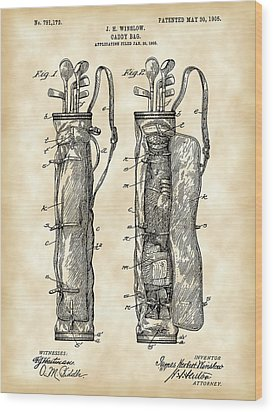 Golf Bag Patent 1905 - Vintage Wood Print