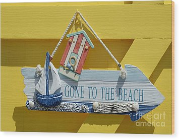 Gone To The Beach Wood Print
