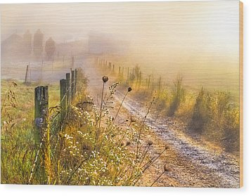 Good Morning Farm Wood Print by Debra and Dave Vanderlaan