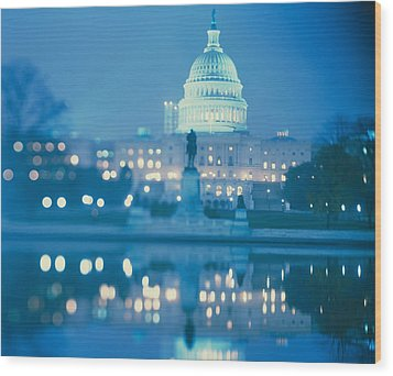 Government Building Lit Up At Night Wood Print by Panoramic Images
