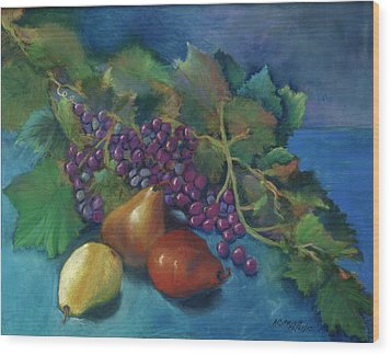 Grapes And Pears Wood Print