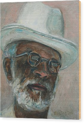 Gray Beard Under White Hat Wood Print