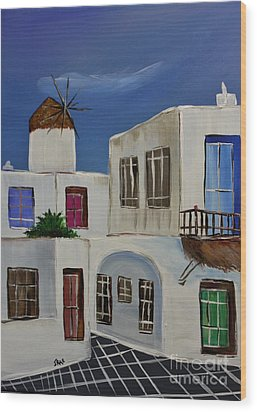 Wood Print featuring the painting Greek Village by Janice Rae Pariza