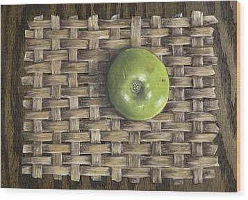 Wood Print featuring the painting Green Apple On Basket by Claude Schneider