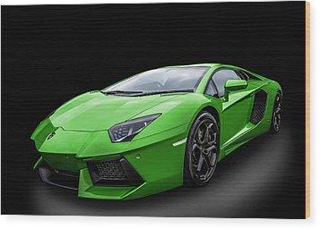 Green Aventador Wood Print by Matt Malloy