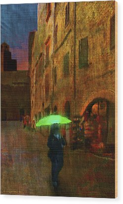 Green Umbrella Wood Print by Patrick J Osborne