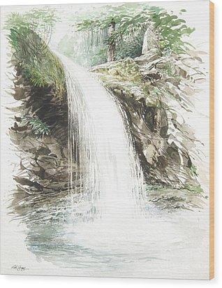 Grotto Falls Wood Print by Bob  George