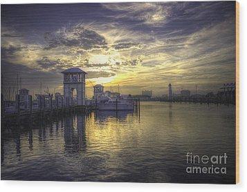 Gulfport Harbor Wood Print by Maddalena McDonald