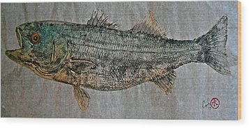 Gyotaku - Striped Bass - Rock Fish - Striper Wood Print