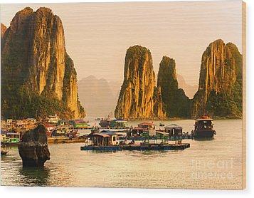 Halong Bay - Vietnam Wood Print by Luciano Mortula
