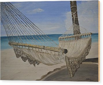 Wood Print featuring the painting Hammock by Debbie Baker