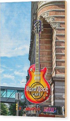 Hard Rock Cafe Guitar Wood Print by Boris Mordukhayev