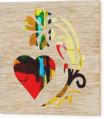 Heart And Flowers Wood Print by Marvin Blaine