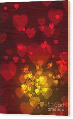 Hearts Background Wood Print by Carlos Caetano