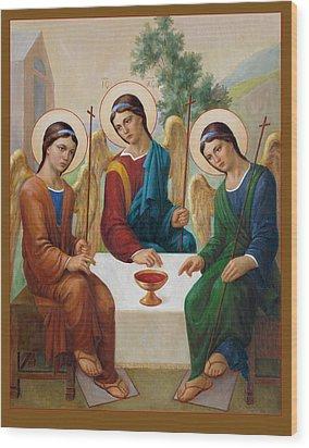 Wood Print featuring the painting Holy Trinity - Sanctae Trinitatis by Svitozar Nenyuk