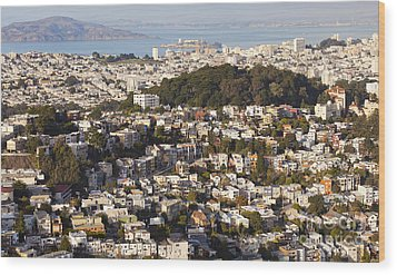 Homes Of San Francisco Wood Print by B Christopher