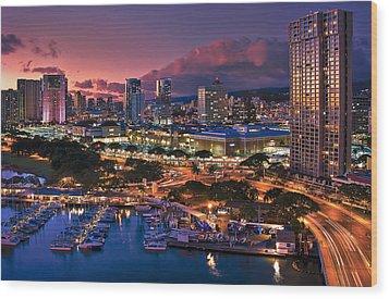 Wood Print featuring the photograph Honolulu City Lights by Hawaii  Fine Art Photography