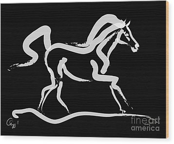 Horse-runner Wood Print by Go Van Kampen