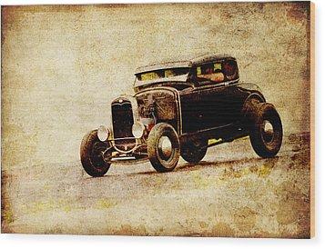 Hot Rod Ford Wood Print by Steve McKinzie