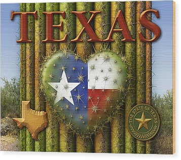 I Love Texas Wood Print by James Larkin