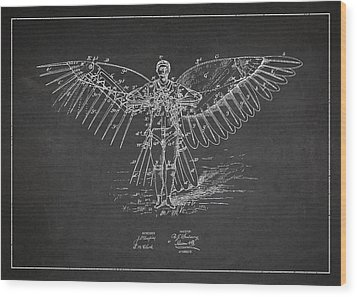 Icarus Flying Machine Patent Drawing Front View Wood Print by Aged Pixel